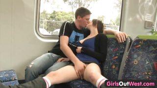 Amateur couple fucking on the train