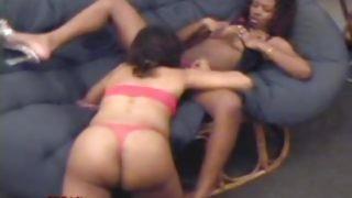 Ebony lesbian action with toys